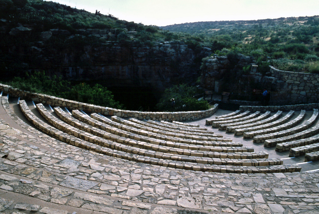 This  is the amphitheater at the natural entrance to Carlsbad Cavern. In the evening, at about sunset, visitors sit here to watch clouds of bats fly out of the cave entrance.