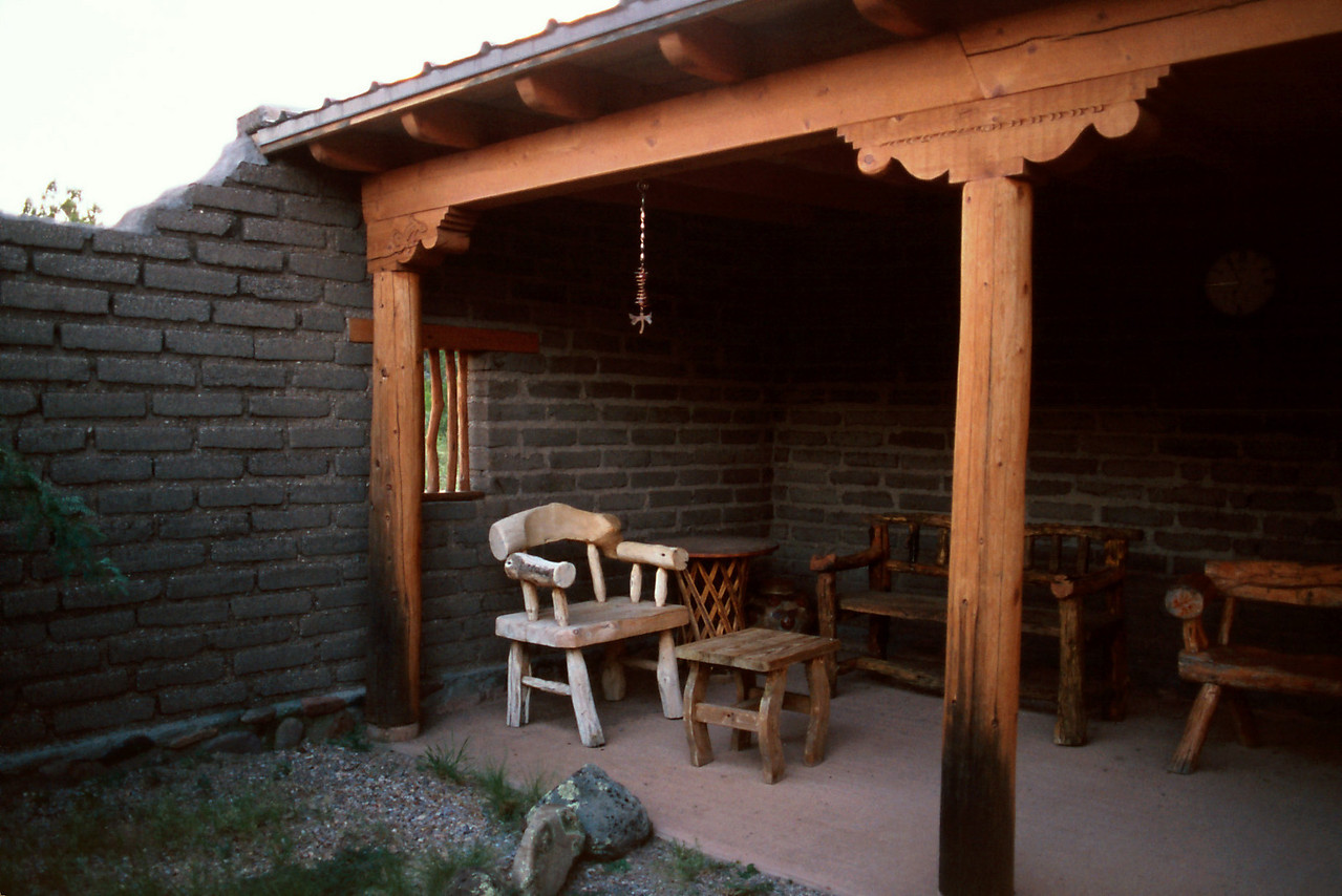 The owners have built this patio adjacent to an art gallery they run on the casitas property.