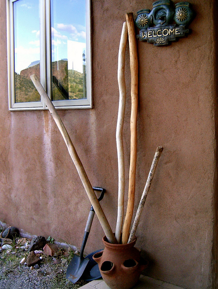 Walking sticks are provided, as well as a shovel and gold pan, should you care to try your luck in the gravels of Bear Creek. I highly recommend Bear Creek to all who would pan for gold. It has almost everything a gold panner could desire. Almost.