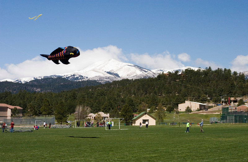 Fish kite with Sierra Blanca in the background.