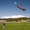 Myra flies her kite.