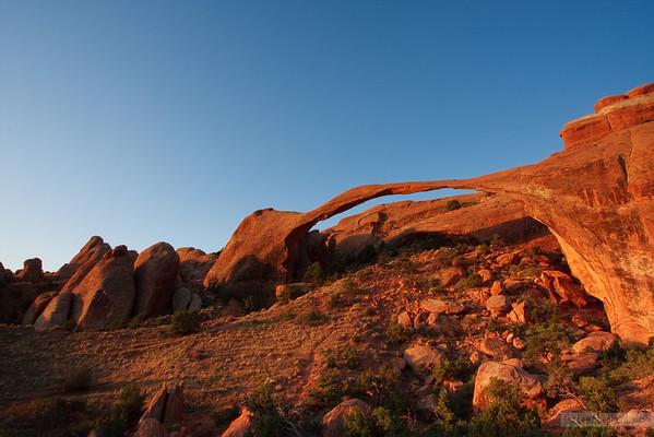 landscape arch at sunrise