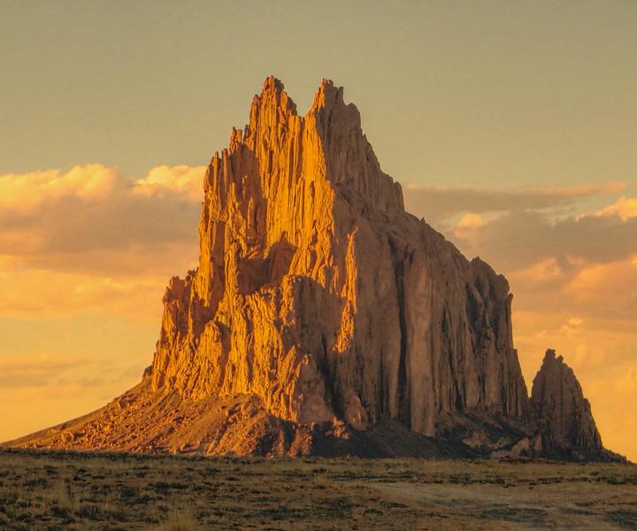 Shiprock Pinnacle at sunset, near Farmington, NM