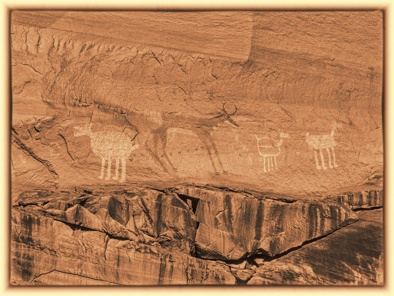 Petroglyphs on canyon walls