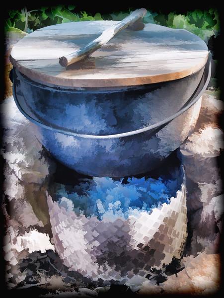 Pot over hot coals
