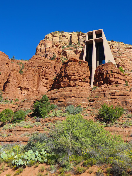 Not all churches in the Southwest are made of adobe.  This modern structure is the Chapel of the Holy Cross in Sedona.  It is built into the mountain side.  By the way, we also saw an amazing mosque in the middle of the dessert, and a very modern, but southwest-like, synagogue in Sedona.