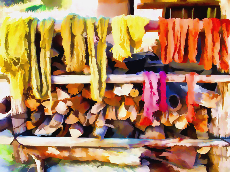Dyed wools drying on rack