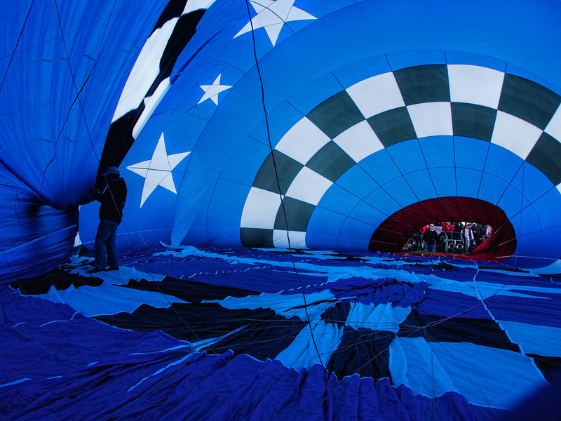 View from inside a balloon being inflated.