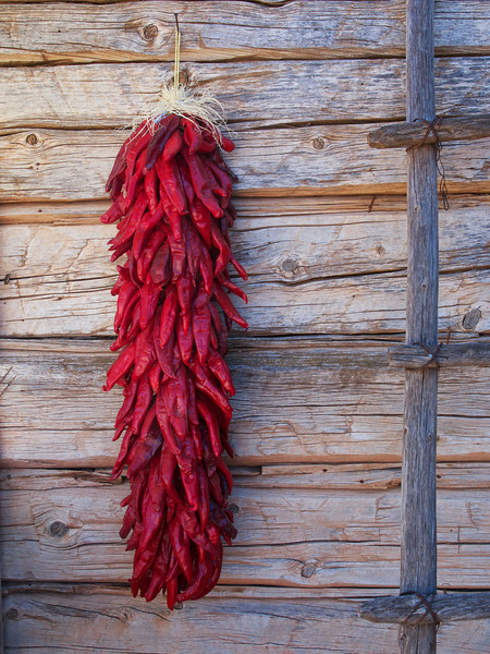 Traditional rista of chili peppers typical of southwest