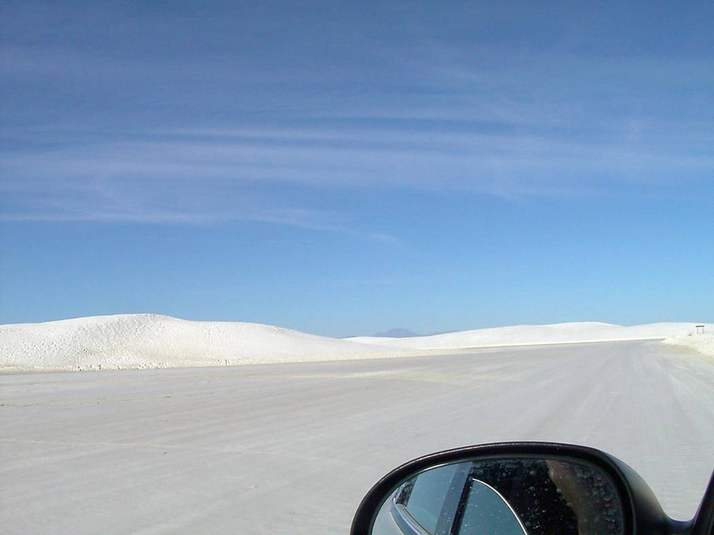 j) White Sands road. The whole white sands experience was surreal.