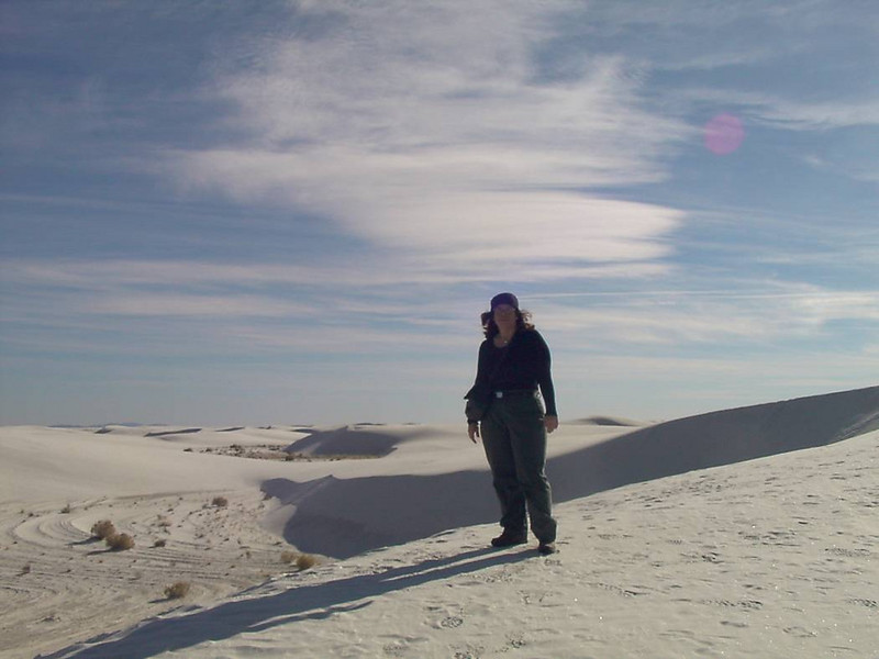 s) After 1.5 hours of seeing no one, finally I spotted someone else on top of another dune. They eventually caught up with me and we exchanged taking photos of each other.