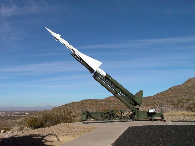 g) A Nike missile. The outside of the museum had several missile and rocket engine displays.