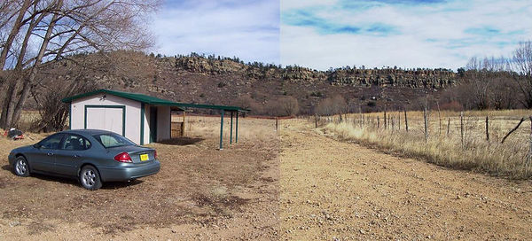A photo-stitched view from the mobile home. The workshop and two-car carport sit  near the middle of the 3 acres and the land runs all the way down to the Mora River at the base of the cliffs. These cliffs should prevent development from ever overlooking the property and will shield the land from the North winds in winter.