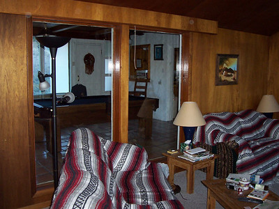 Looking from the living room into the billiards room.
