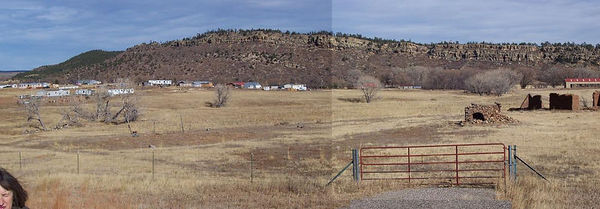 A view of Buena Vista from Hwy 518. The mobile home is near the middle of this photo but out of sight in the back of the village and over the small crest. The ten acres in the foreground of this photo is also for sale.