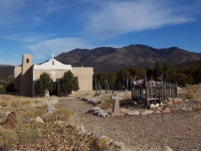 Old adobe chapel in Golden, NM.