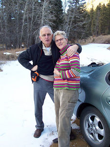 Pa & Ma enjoy the snow at a National Forest Service rest area near Tres Ritos.