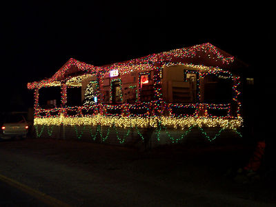 Christmas lights in Madrid, NM. The whole main street was decorated, but this general store had the best lights of all.