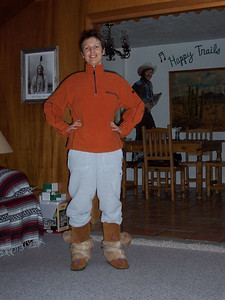 Caroline and her new mukluk boots! She's sure proud of them.