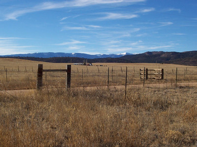 A view NW up the valley from the mobile home. The Sangre de Cristo mountains are the snow-covered mountains in the distance