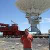 The red locomotive repositions the large radio telescopes.
