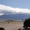 Clouds and snow over Sandia Peak.