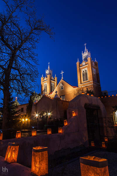 San Felipe de Neri Parish in Old Town Albuquerque on Christmas Eve.