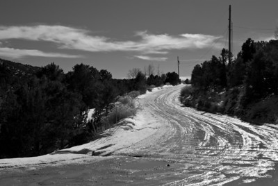 Upper Canyon Road, Santa Fe, NM — my friend Allen lived here in the early 80's. He's gone now. This B+W captured my emotions, driving there again, 25 years later.