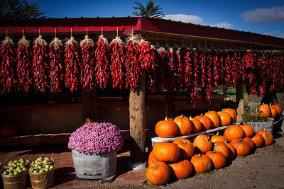 Chile peppers at a market outside Santa Fe, New Mexico!