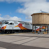 A Southbound Rail Runner departs Santa Fe.