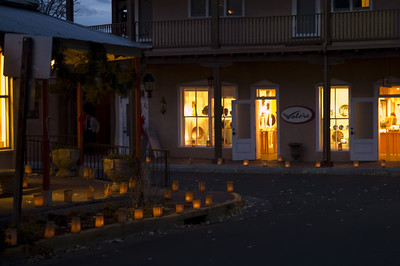 Candles are set in a bed of sand inside the bottom of a paper bag. When lit they create a golden glow. Luminarias are set out to light the way for the Christ Child, and thousands of luminarias line the Church, Plaza, streets and walkways of Old Town.