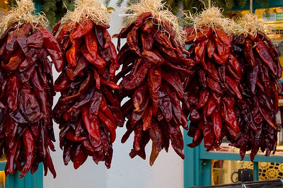 Bunches of fiery red dried chillies, one of the symbols of New Mexico.