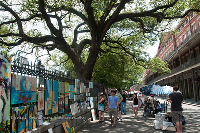 Art work on display on Jackson Square in New Orleans.