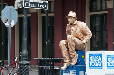Bronze street performer on the corner of St Ann & Chartres streets.