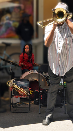 Street Musician with young Drummer