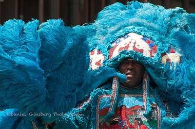 Man in bright bblue feathered costume in New Orleans.
