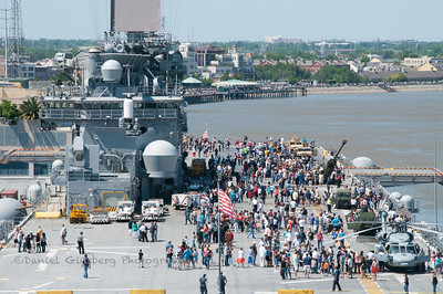 Navy amphibious assault ship USS Wasp (LHD 1) in port in New Orleans.