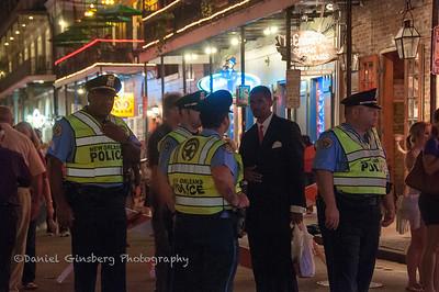 Police on Bourbon Street, New Orleans.