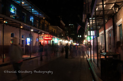 Ghostly people on Bourbon Street, New Orleans.
