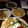 Dinner at coops<br /> Fried okra, crab claws, green beans with bacon sauce, smoked duck quesadilla