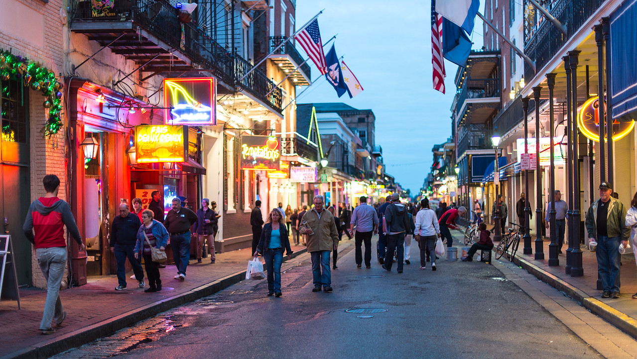 Evening in French Quarter, New Orleans, LA - January 2016