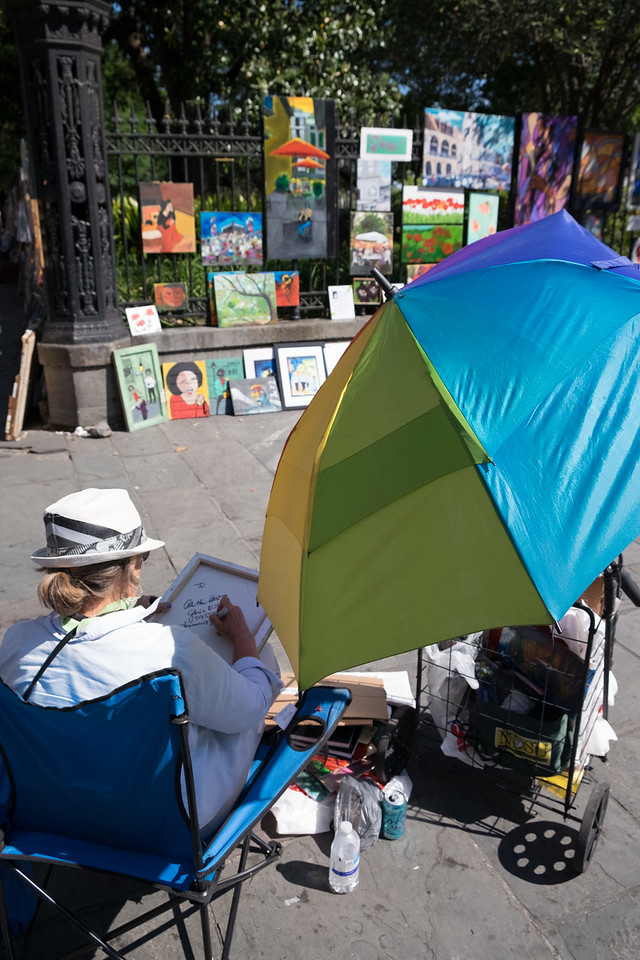 Jackson Square is surrounded by dozens of artists selling their wares