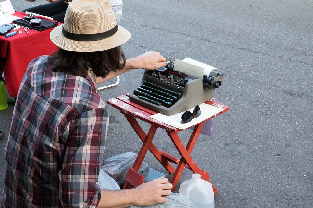 Several people had set up old typewriters and would produce spontaneously written poetry on demand