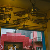 brass instruments hanging in music shop New Orleans