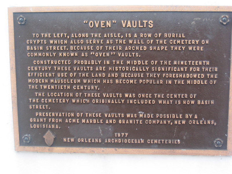 Sign explaining the oven vaults