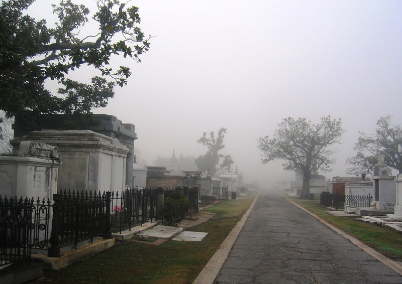 A foggy morning in the cemetary