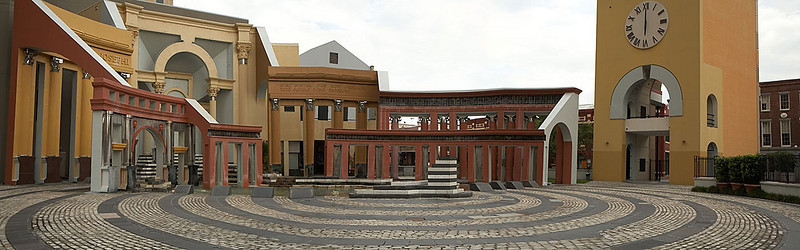 A quick and dirty three shot pano of Piazza d'Italia which is located next to the Loews.