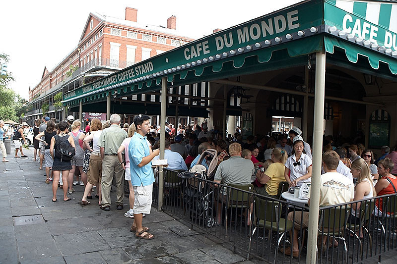 This is the line outside of Cafe Du Monde on Sunday at mid-morning. Best to wake up early if you don't want to wait.