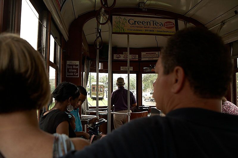 We rode the St. Charles Streetcar to the Garden District. There was a car accident that forced everyone to change streetcars.
