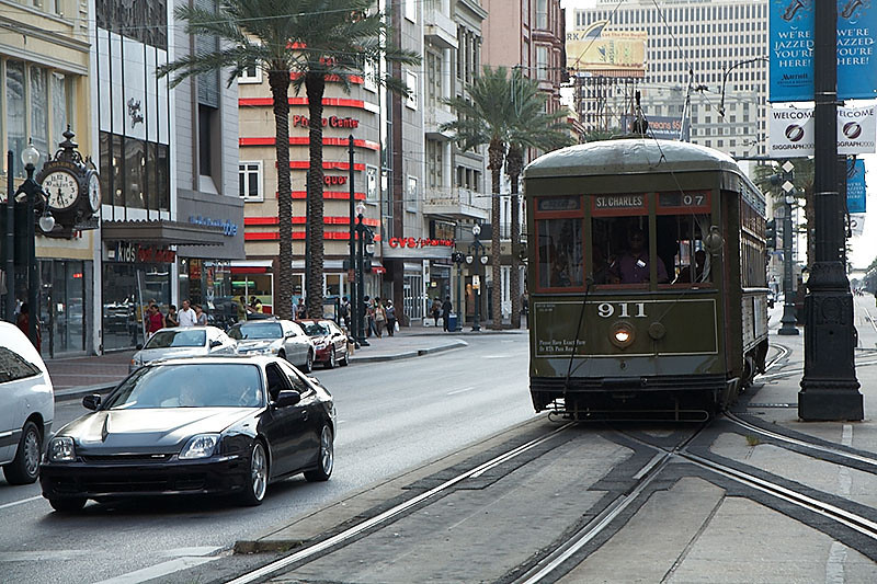 The Saint Charles streetcar heading south on Canal Street.